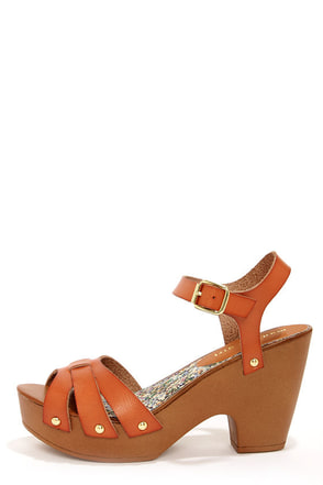 Madden Girl Cindiee Cognac Platform High Heel Sandals