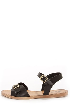 Soda Dino Black Buckled Ankle Strap Sandals