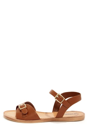 Soda Dino Dark Tan Buckled Ankle Strap Sandals