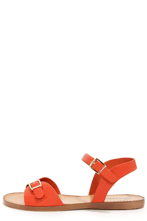 Soda Dino Deep Orange Buckled Ankle Strap Sandals