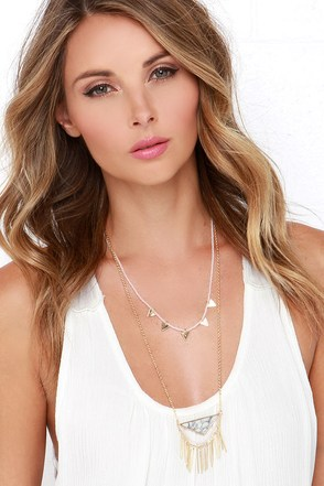 Bonfire Buddy Gold and Pink Layered Necklace at Lulus.com!
