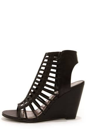 Madden Girl Coasterr Black Cutout Wedge Booties