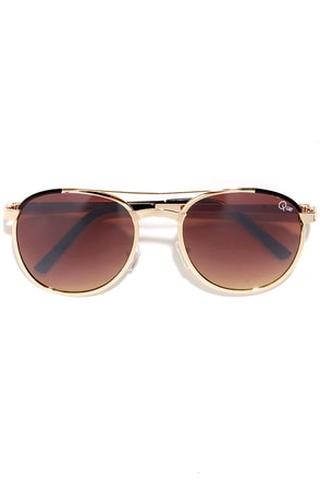 Quay Sundance .7.8 Brown and Gold Sunglasses at Lulus.com!