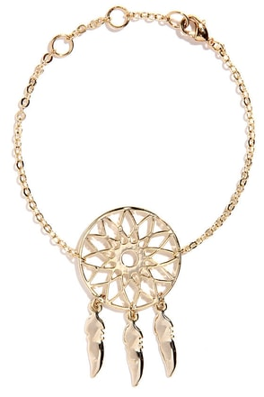 Little Dream of Me Gold Dream Catcher Bracelet at Lulus.com!
