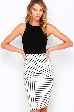 Kiss Cross Black and Ivory Striped Midi Dress at Lulus.com!