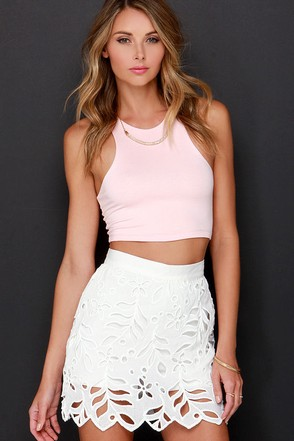 Eyelets Get Started Ivory Lace Mini Skirt at Lulus.com!