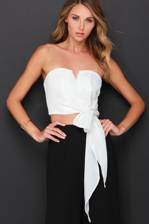 Be My Guest Ivory Strapless Crop Top at Lulus.com!