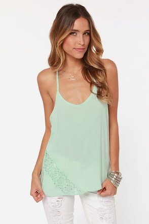 Volcom Simmer Down Crochet Mint Tank Top