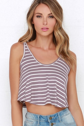 Single File Mauve Striped Crop Top at Lulus.com!
