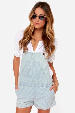 Volcom Killjoy Light Blue Striped Overalls