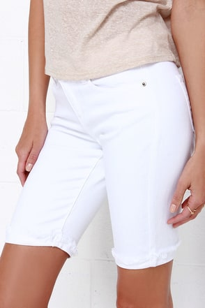 Marlin White Cutoff Bermuda Shorts at Lulus.com!