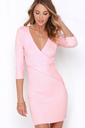 Warm Up and Up Peach Long Sleeve Sweater Dress at Lulus.com!