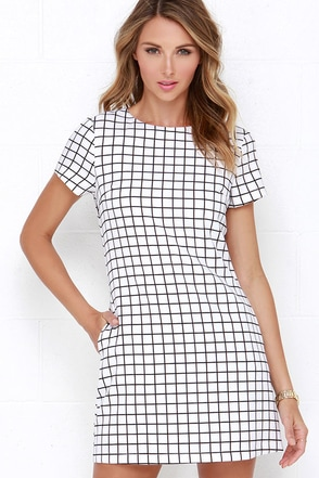 Mic Check One Two Black and Ivory Grid Print Dress at Lulus.com!