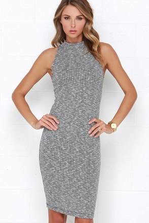 Speck of Truth Ribbed Grey Dress at Lulus.com!