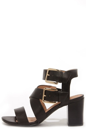 Restricted Kick Off Black Buckled High Heel Sandals at Lulus.com!
