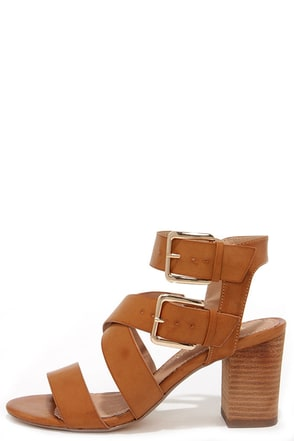 Restricted Kick Off Tan Buckled High Heel Sandals at Lulus.com!