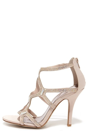 Madden Girl Digitize Blush Satin Rhinestone Dress Sandals at Lulus.com!