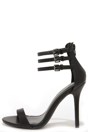 Triple Thrill Black Ankle Strap Heels at Lulus.com!