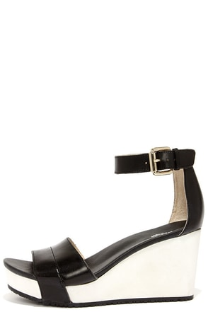 Dr. Scholl's Warner Black and White Leather Wedges at Lulus.com!