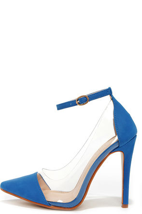 In the Clear Future Blue Lucite Heels at Lulus.com!