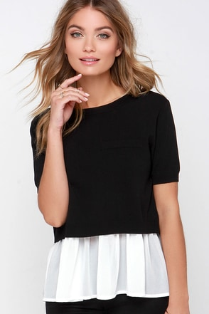 Ask for Amore Ivory and Black Layered Top at Lulus.com!