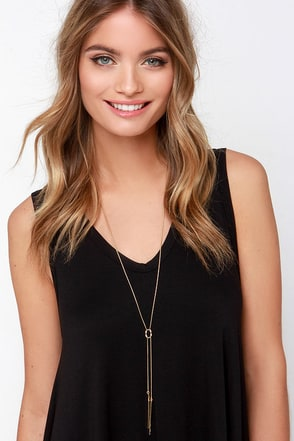 Bars and the Real Girl Gold Drop Necklace at Lulus.com!