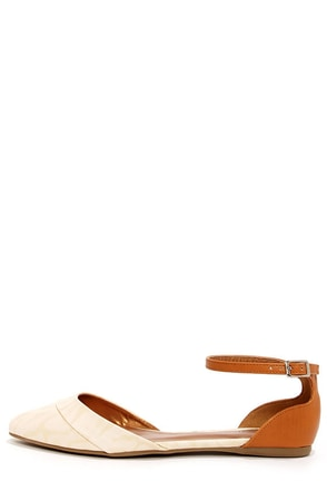 Promise Wira Nude and Tan D'Orsay Pointed Flats