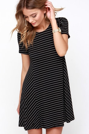 Ferry Ride Black Striped Swing Dress at Lulus.com!