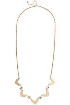 Bling Your Partner Gold Rhinestone Chevron Necklace at Lulus.com!