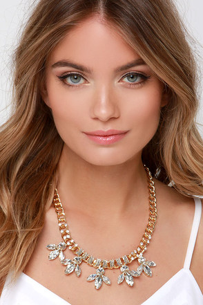 Zsa Zsa Gold and Clear Rhinestone Necklace at Lulus.com!