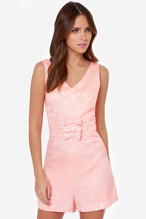 I. Madeline Because I'm Happy Neon Coral Print Romper at Lulus.com!