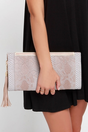 Slither Me Timbers Taupe Clutch at Lulus.com!