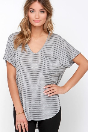 Thinking of You Grey Striped Tee at Lulus.com!