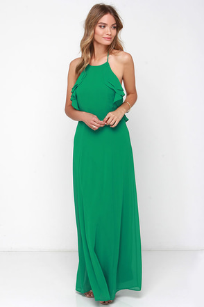 Ruffle Force Green Maxi Dress at Lulus.com!
