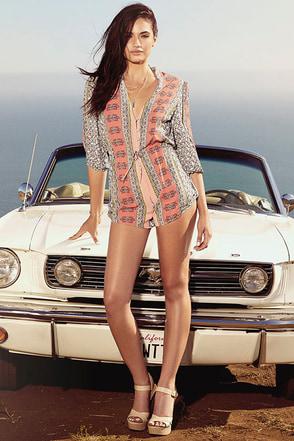 Gypsy Gem Coral Print Romper at Lulus.com!