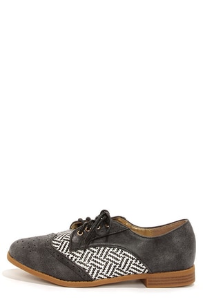Yoki Aliya 02 Black Oxford Flats