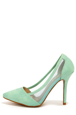 Yoki Hayle 05 Mint Mesh Pointed Pumps