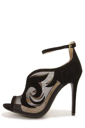 Yoki Adelpha Black Mesh Ankle Strap Heels