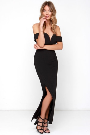 Madison Square Eternity Black Off-the-Shoulder Maxi Dress at Lulus.com!
