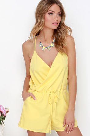 Looky Here Yellow Romper at Lulus.com!