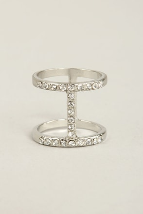 I Beaming Silver Rhinestone Ring