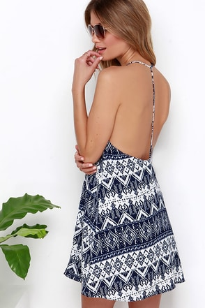 La-La Land Navy Blue Print Dress at Lulus.com!