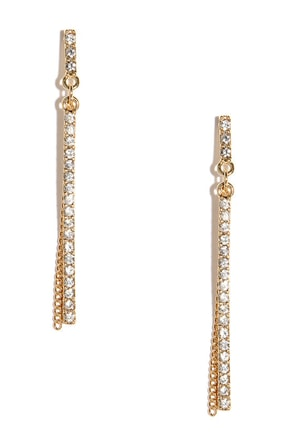 Take a Shine Gold Rhinestone Earrings at Lulus.com!