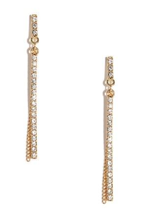 Take a Shine Gold Rhinestone Earrings at Lulus.com!