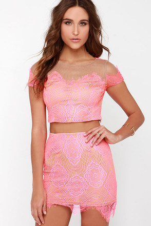 Royal Road Neon Pink Lace Two-Piece Dress at Lulus.com!