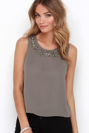Embellish the Story Grey Beaded Top at Lulus.com!
