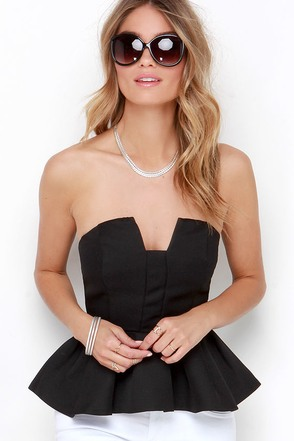 Twirly Girl Black Strapless Peplum Top at Lulus.com!