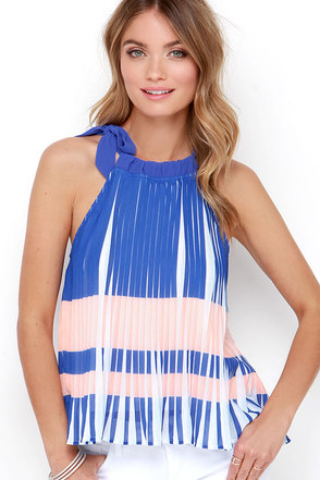 Rio Carnival Royal Blue Striped Top at Lulus.com!