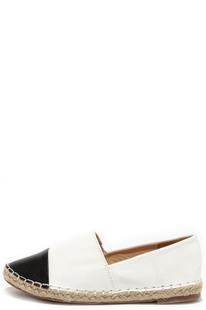Freshly Pressed White and Black Espadrille Flats at Lulus.com!