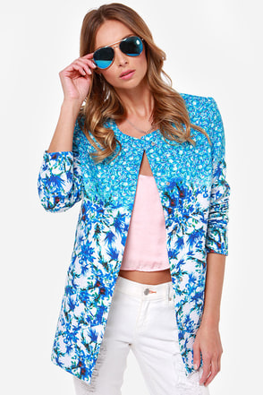 Monet-Sayer Blue Floral Print Jacket